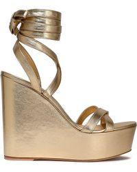 Gianvito Rossi - Metallic Leather Wedge Sandals - Lyst