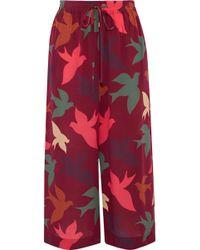 RED Valentino - Printed Silk Crepe De Chine Culottes - Lyst