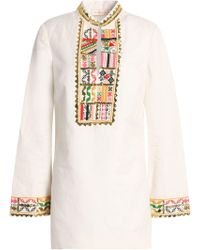 Tory Burch - Embroidered Linen And Cotton-blend Gauze Tunic - Lyst