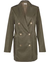 Nina Ricci - Double-breasted Wool And Silk-blend Jacket Army Green - Lyst