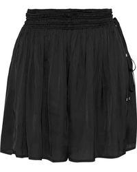 Halston - Woman Gathered Charmeuse Shorts Black - Lyst