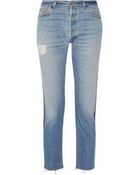Levi's - Distressed Two-tone Mid-rise Slim-leg Jeans - Lyst