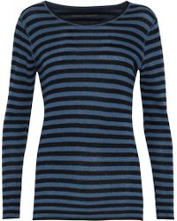 Majestic Filatures - Striped Cashmere Sweater Mid Denim - Lyst