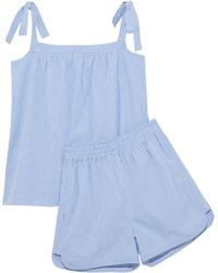 Iris & Ink - Val Bow-detailed Cotton-poplin Gingham Pyjama Set Light Blue - Lyst