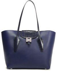 Michael Kors - Woman Smooth And Snake-effect Leather Tote Navy - Lyst