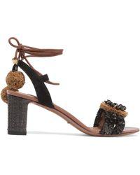 Dolce & Gabbana - Suede And Raffia-trimmed Embellished Leather Sandals - Lyst