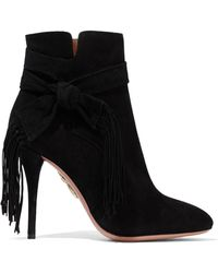 Aquazzura - Loren Knotted Fringe-trimmed Suede Ankle Boots - Lyst