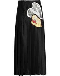 Marco De Vincenzo - Lace-trimmed Appliquéd Satin Midi Skirt - Lyst