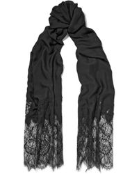 Valentino - Chantilly Lace And Modal-blend Scarf - Lyst