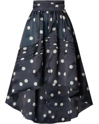 Ganni - Woman Asymmetric Polka-dot Silk-organza Skirt Midnight Blue - Lyst