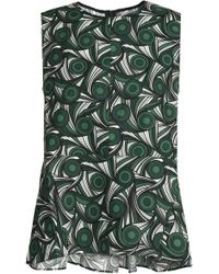 Marni - Fluted Printed Cotton-poplin Top Forest Green - Lyst