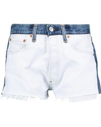 RE/DONE - Levi's Two-toned Denim Shorts Light Denim - Lyst