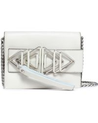 Elena Ghisellini - Woman Embellished Leather Shoulder Bag Ecru Size -- - Lyst
