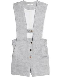 Tibi - Freddie Cutout Cotton And Linen-blend Twill Playsuit - Lyst