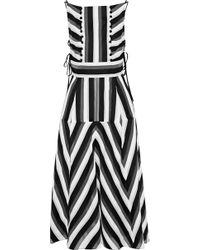 Lela Rose - Striped Cotton And Silk-blend Midi Dress - Lyst