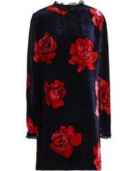 Markus Lupfer - Olympia Ruffle-trimmed Floral-print Velvet Mini Dress - Lyst