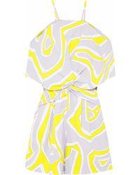 Emilio Pucci - Cold-shoulder Twist-front Printed Crepe Playsuit - Lyst