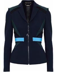 Versace - Color-block Mesh-paneled Stretch-knit Blazer - Lyst