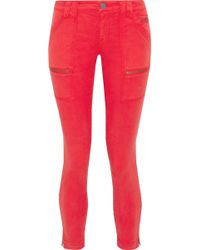 Joie - Woman Park Moto-style Cropped Low-rise Skinny Jeans Tomato Red - Lyst