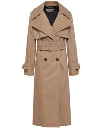 Roberto Cavalli - Woman Double-breasted Gabardine Trench Coat Neutral - Lyst