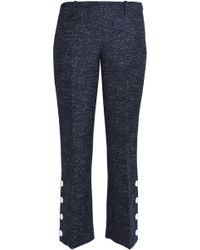 Michael Kors - Cropped Button-detailed Marled Wool Bootcut Trousers - Lyst