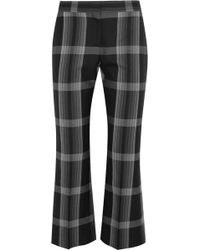Alexander McQueen - Cropped Checked Silk And Wool-blend Flared Pants - Lyst