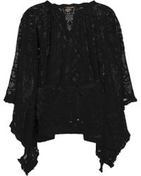 Roberto Cavalli - Belted Fringe-trimmed Crocheted Coverup - Lyst