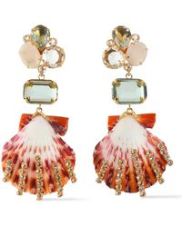 Bounkit - Woman Gold-tone, Crystal And Seashell Earrings Gold Size -- - Lyst