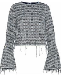 Mother Of Pearl - Frayed Embellished Cotton-blend Bouclé-tweed Top - Lyst