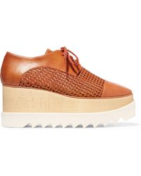 Stella McCartney - Elyse Woven Faux Leather Platform Brogues - Lyst