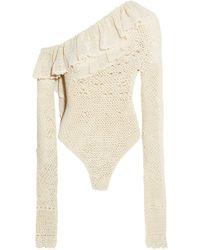 Magda Butrym - Natal One-shoulder Crocheted Cotton-blend Bodysuit - Lyst