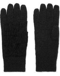 Autumn Cashmere - Suede-trimmed Fringed Cashmere Gloves - Lyst