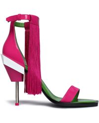 Emilio Pucci - Fringed Suede And Patent-leather Sandals - Lyst
