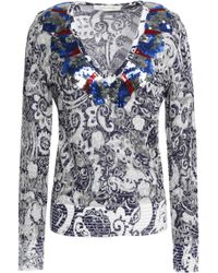 Marc Jacobs - Sequin-embellished Distressed Metallic Jacquard-knit Sweater - Lyst
