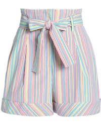 Nicholas - Belted Striped Cotton-blend Shorts - Lyst