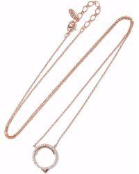 Astrid & Miyu - Fitzgerald Circle 14-karat Rose Gold-plated Crystal Necklace - Lyst