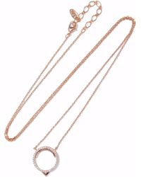 Astrid & Miyu - Woman Fitzgerald Circle 14-karat Rose Gold-plated Crystal Necklace Rose Gold - Lyst