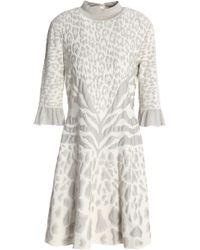 Roberto Cavalli - Metallic Leopard-print Jacqaurd-knit Mini Dress - Lyst