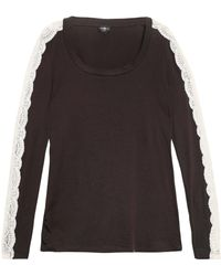 Cosabella - Lace-trimmed Cotton-blend Pajama Top Charcoal - Lyst
