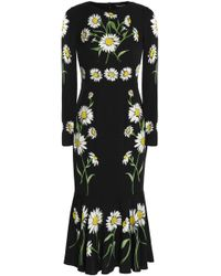 Dolce & Gabbana - Fluted Floral-print Stretch-silk Midi Dress - Lyst