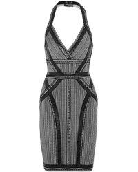 Hervé Léger - Lavinia Faux Leather-trimmed Bandage Halterneck Dress - Lyst