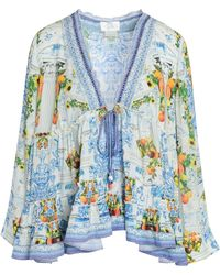 Camilla - Woman Come As You Are Ruffled Printed Woven Blouse Off-white - Lyst