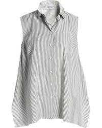 Brunello Cucinelli - Asymmetric Layered Striped Silk Top - Lyst