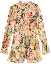 Nicholas - Ruffled Floral-print Silk Crepe De Chine Playsuit - Lyst