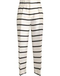 Dolce & Gabbana - Cropped Striped Silk-twill Straight-leg Trousers - Lyst