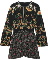 Etro - Floral-print Silk Crepe De Chine Peplum Blouse - Lyst