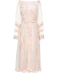 RED Valentino - Woman Pleated Printed Point D'esprit And Georgette Midi Dress Pastel Pink - Lyst