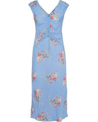 Love Sam - Ruched Floral-print Crepe De Chine Midi Dress - Lyst