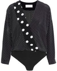 Michelle Mason - Wrap-effect Polka-dot Silk Bodysuit - Lyst
