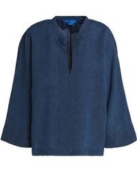 M.i.h Jeans - Roller Linen And Cotton-blend Chambray Top Mid Denim - Lyst